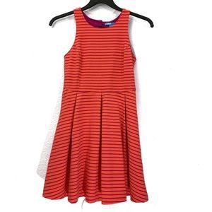 L'Amour Striped Pleated Fit & Flare Dress